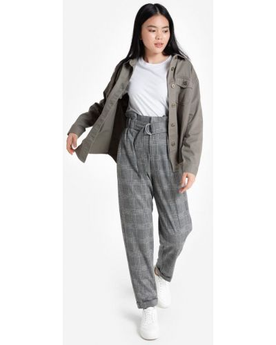 Классические брюки в клетку - черные Gloria Jeans