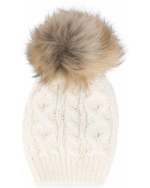 Prążkowany biały kapelusz wełniany Woolrich Kids