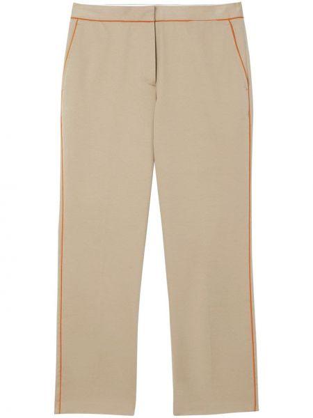 Шелковые укороченные брюки с поясом с потайной застежкой со вставками Burberry