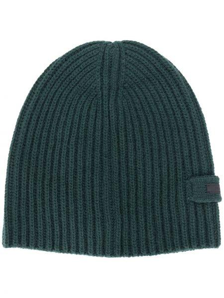 Zielona czapka prążkowana Prada