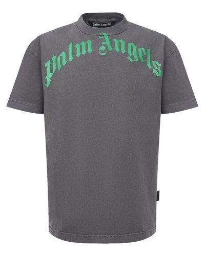 Хлопковая серая футболка Palm Angels