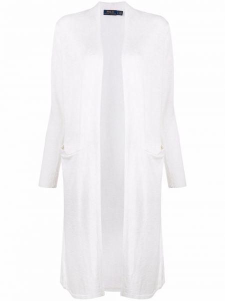 Льняное белое длинное пальто с карманами Polo Ralph Lauren