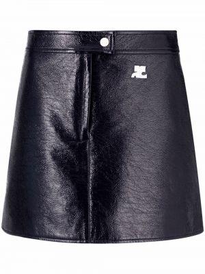 Кожаная юбка мини на молнии с нашивками Courrèges