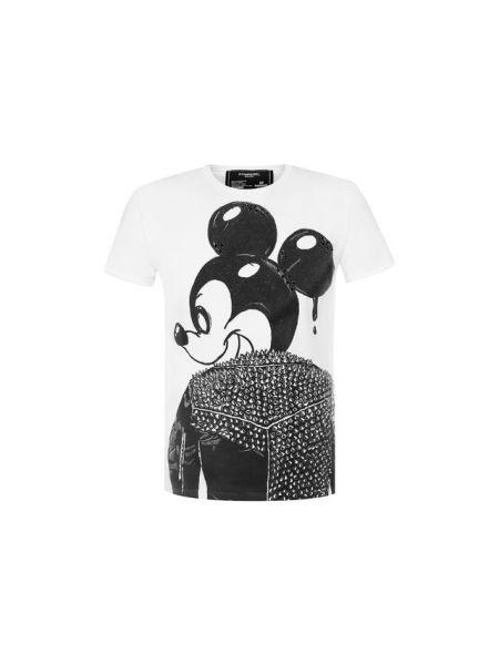 Хлопковая белая футболка с рисунком с круглым вырезом с короткими рукавами Dom Rebel