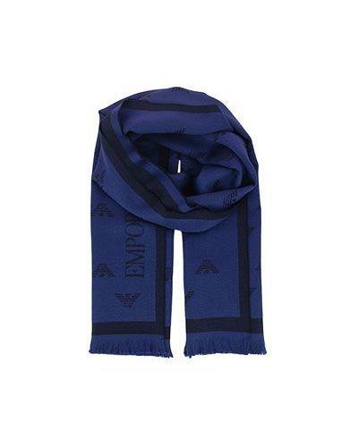 Голубой шарф шерстяной Emporio Armani