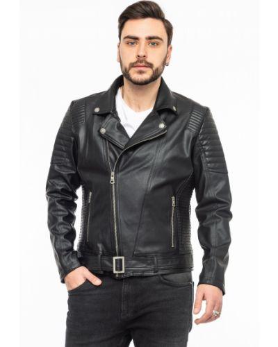 Кожаная куртка на молнии - черная Rozetka