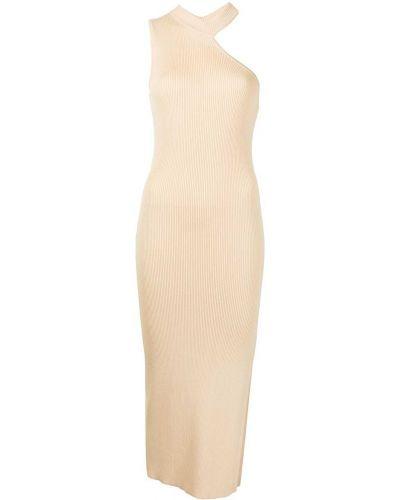 Платье миди в рубчик - оранжевое Manning Cartell