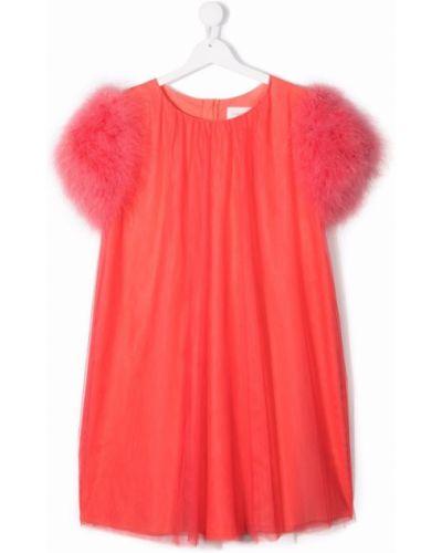 Pomarańczowa sukienka mini bawełniana krótki rękaw Charabia