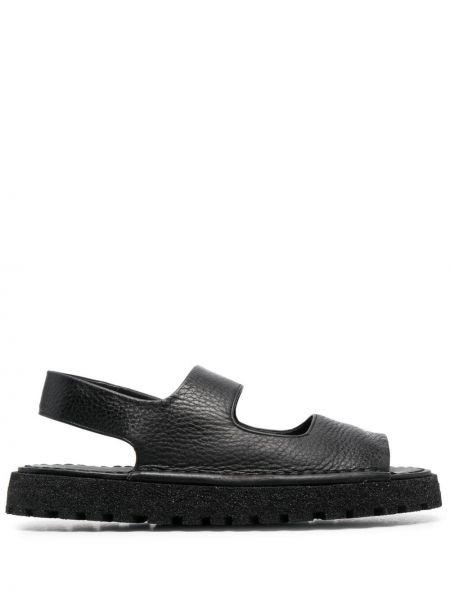 Czarne sandały skorzane peep toe Marsell