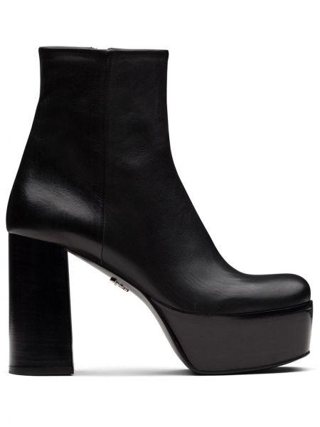 Czarny buty na platformie na pięcie z prawdziwej skóry na platformie Prada