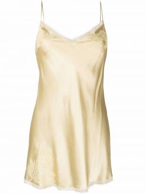 Шелковое платье мини - желтое Carine Gilson