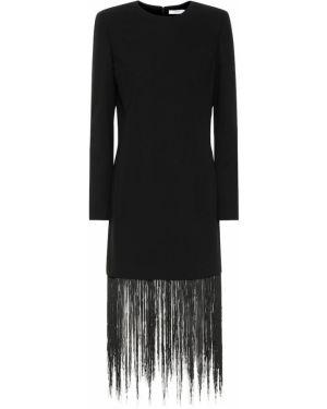 Wełniany czarny sukienka kaskada frędzlami Givenchy