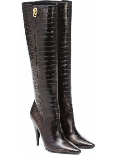 Skórzany brązowy buty obcasy w połowie kolana wytłoczony Tom Ford