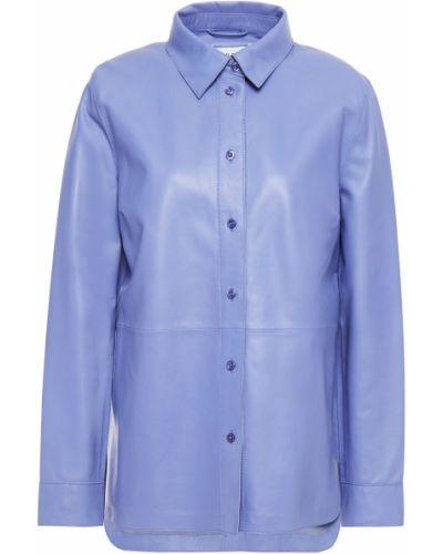 Фиолетовая кожаная рубашка с манжетами Stand Studio