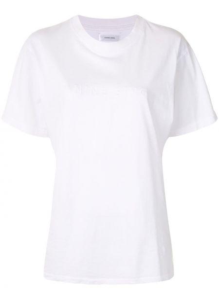 Ватная хлопковая белая рубашка с коротким рукавом с короткими рукавами Anine Bing