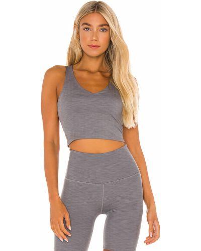 Szary włókienniczy crop top na jogę Beyond Yoga