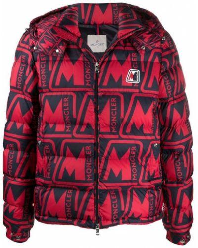 Czerwona długa kurtka z kapturem oversize Moncler