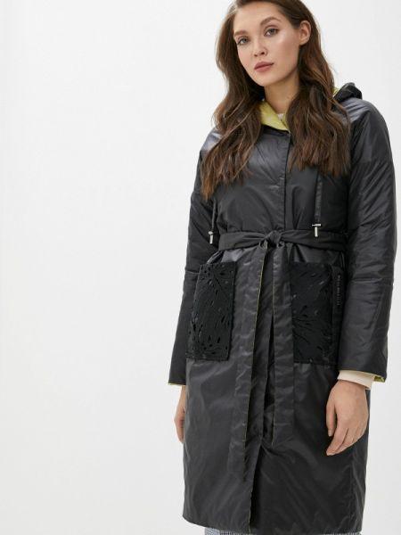Теплая черная утепленная куртка Clasna