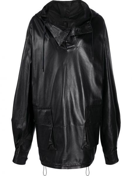 Черное кожаное пальто с капюшоном Petar Petrov