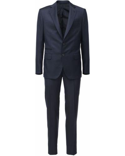 Синий шерстяной костюм с поясом Brioni