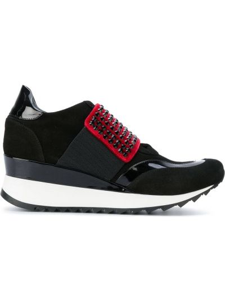 Czarne sneakersy na platformie skorzane Loriblu