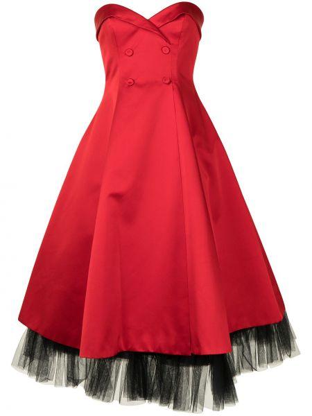 Шелковое платье миди - красное Paule Ka