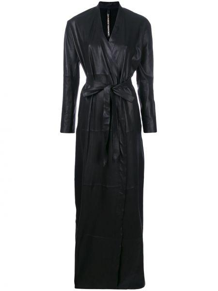 Кожаный черный длинное пальто с поясом Olsthoorn Vanderwilt