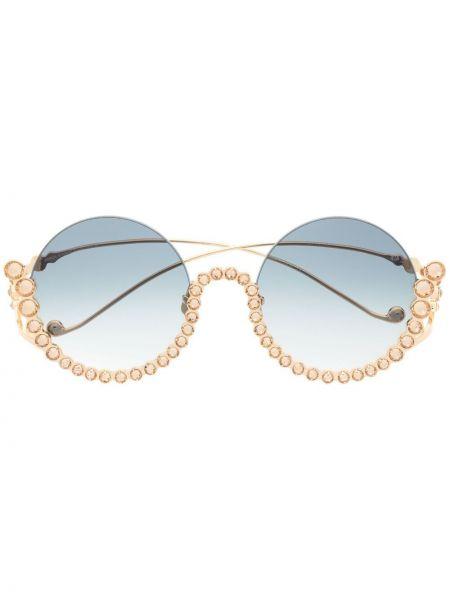 Złote niebieskie okulary pozłacane Anna Karin Karlsson