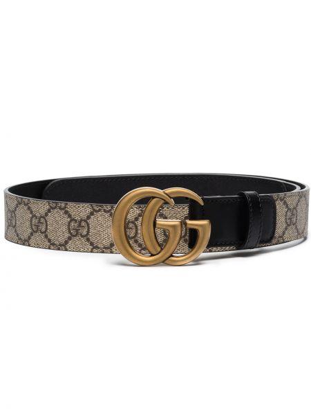 Czarny pasek z paskiem z prawdziwej skóry Gucci
