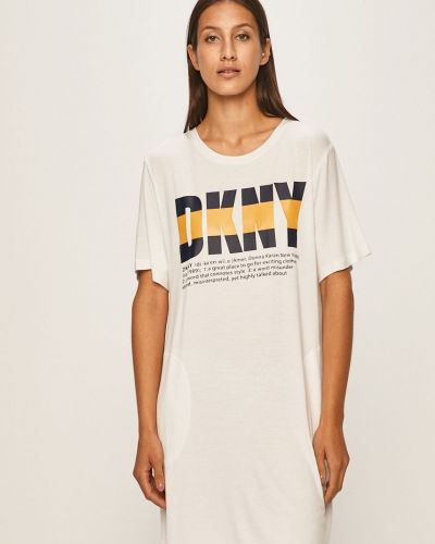 Koszula krótkie rękawy długo biała Dkny