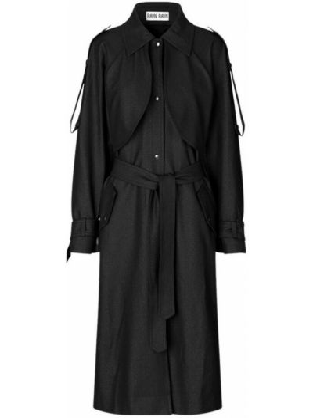 Czarny płaszcz wełniany Ravn