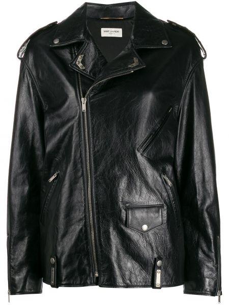 Свободная черная куртка байкерская на молнии Saint Laurent