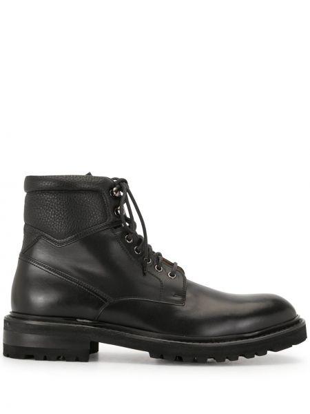 Кожаные черные ботинки на шнуровке со вставками Magnanni