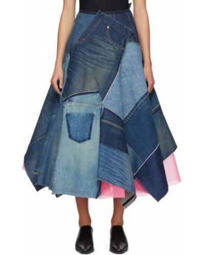 Asymetryczny niebieski spódnica maxi rozciągać z tiulu Junya Watanabe