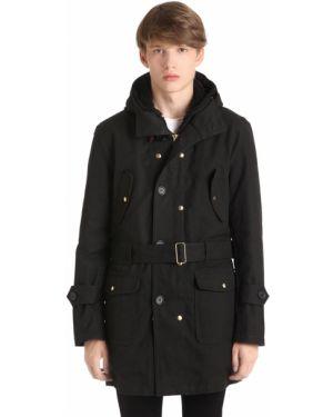 Czarny płaszcz z kapturem bawełniany Equipe' 70