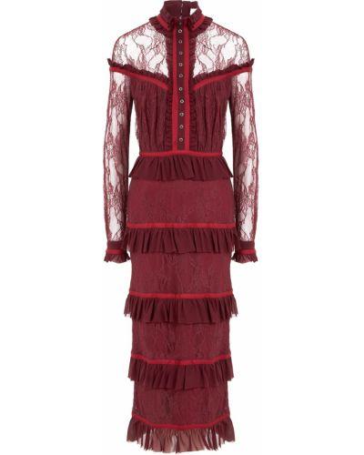 Шелковое платье миди - красное Laroom