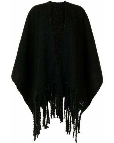 Czarny ponczo z frędzlami krótki rękaw Unreal Fur