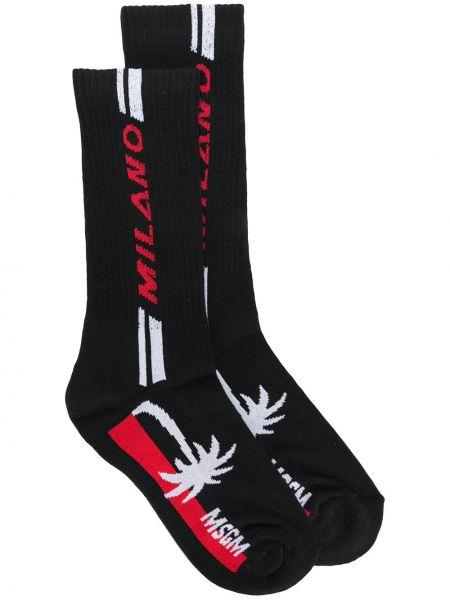 Черные хлопковые носки эластичные Msgm