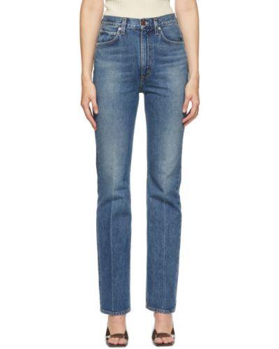 Bawełna niebieski jeansy na wysokości z kieszeniami zabytkowe Agolde