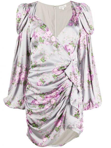 Платье мини серое с цветочным принтом For Love & Lemons