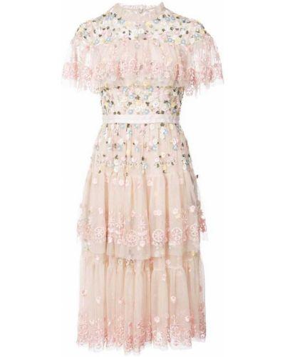 Платье миди мини с цветочным принтом с цветочной вышивкой Needle & Thread