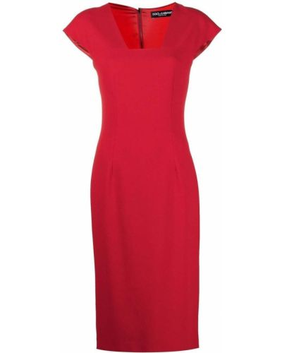 Шелковое красное платье миди Dolce & Gabbana