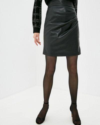 Кожаная черная юбка Twinset Milano