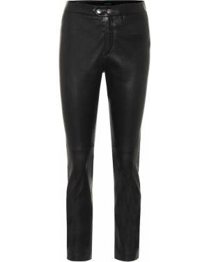 Кожаные черные зауженные брюки Isabel Marant