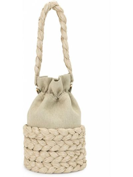Соломенная сумка-тоут на шнурках 0711
