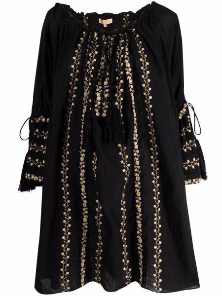Czarna sukienka rozkloszowana koronkowa Bytimo