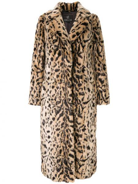Коричневое длинное пальто с капюшоном с разрезом Unreal Fur