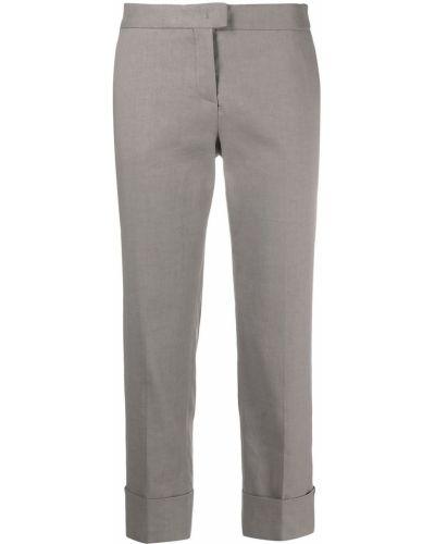 Хлопковые бежевые укороченные брюки с карманами Fabiana Filippi