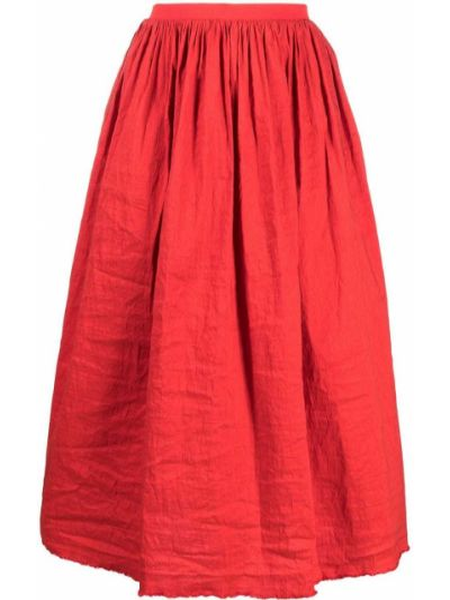 Красная пышная юбка с бахромой Uma Wang