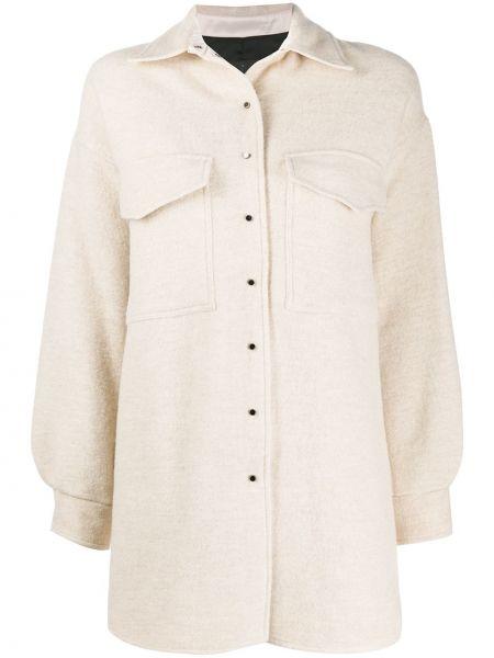 С рукавами белая классическая рубашка с воротником 8pm